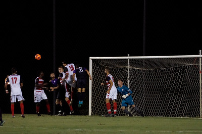 Gardner Webb players head the ball to protect their goal and keep the score at 3-3.  Gardner Webb v. Furman 9/13/16