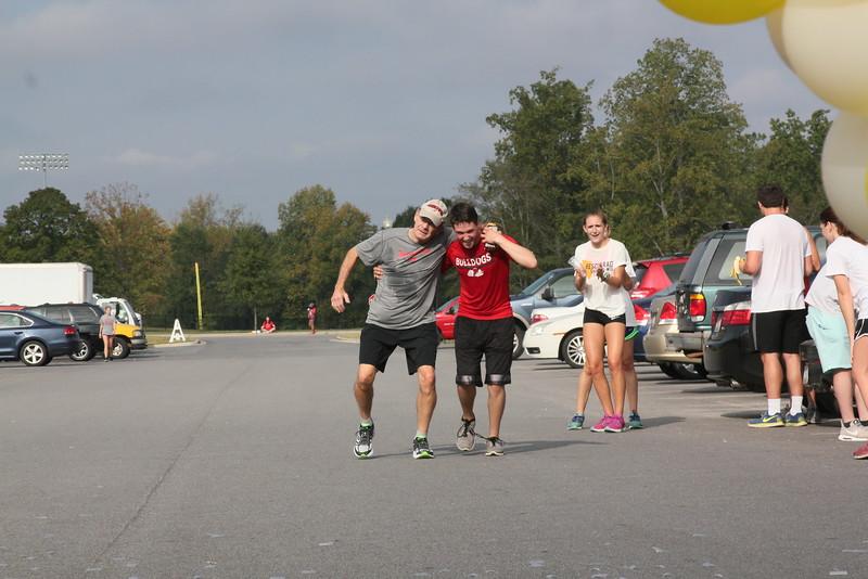 Dr. Bonner hobbling to the finish line