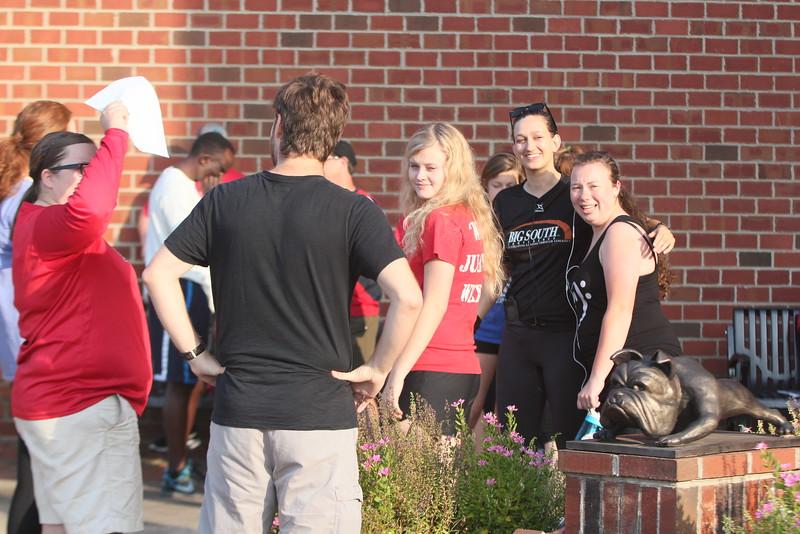 Socializing as the minutes count down until racetime