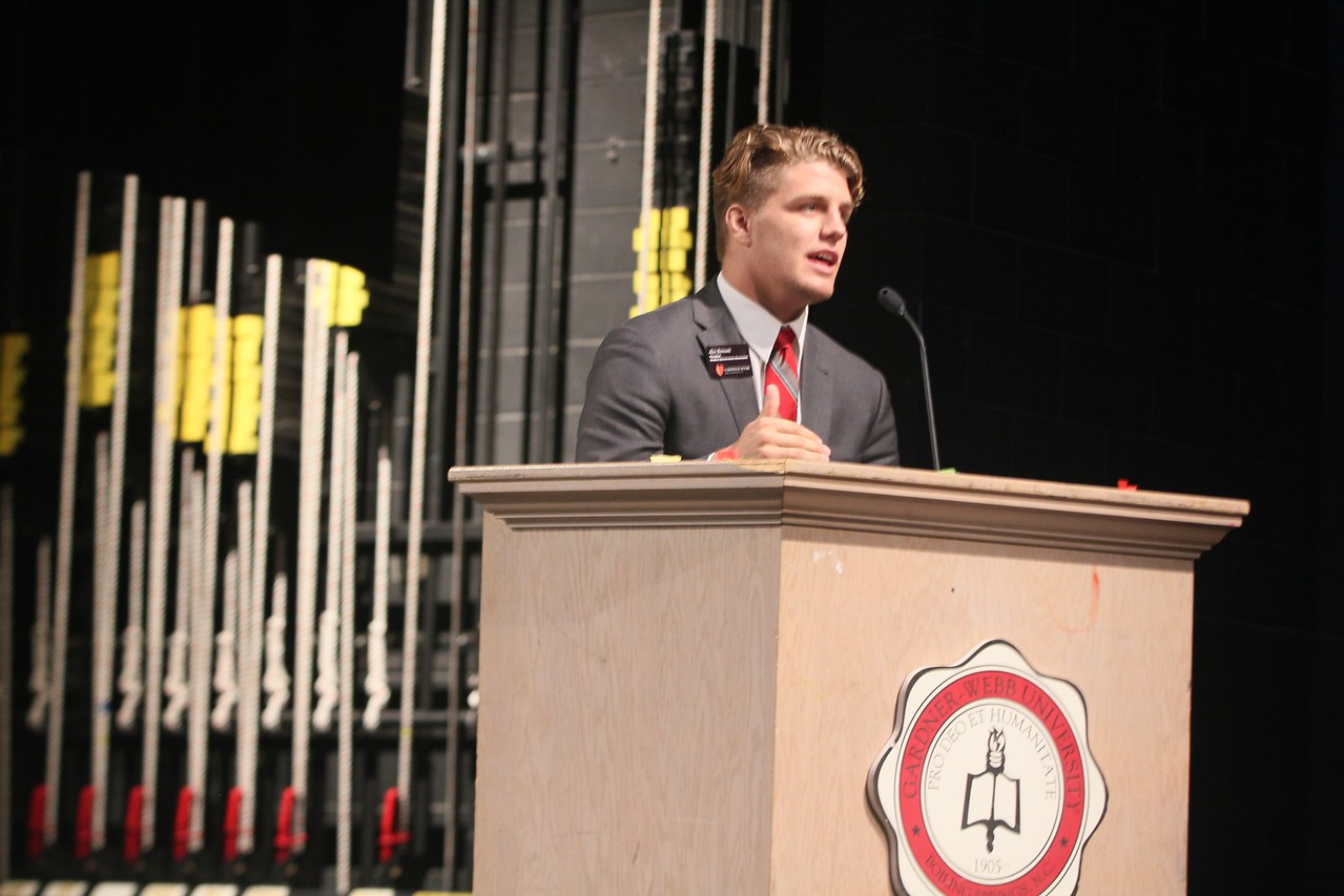 Student Body President Alex Bennett gives his final remarks regarding freshman elections