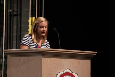 Bridgette Turner giving her candidate speech to the freshman class