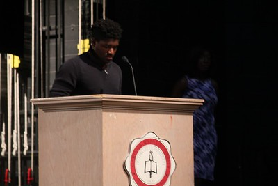 Vashawn Carey gives his speech to the student body