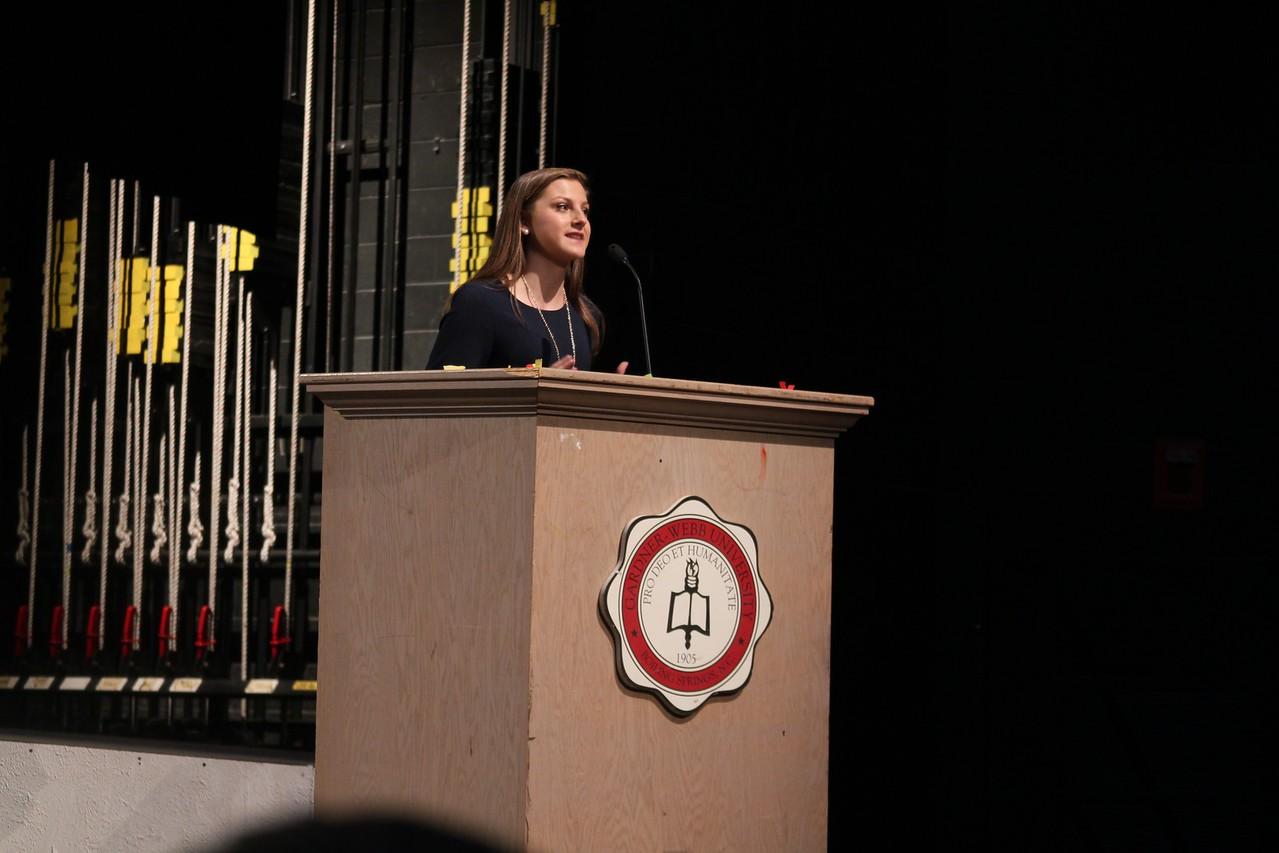 Sarah Stewart gives her inspiring speech as the only candidate running for Freshman Senator