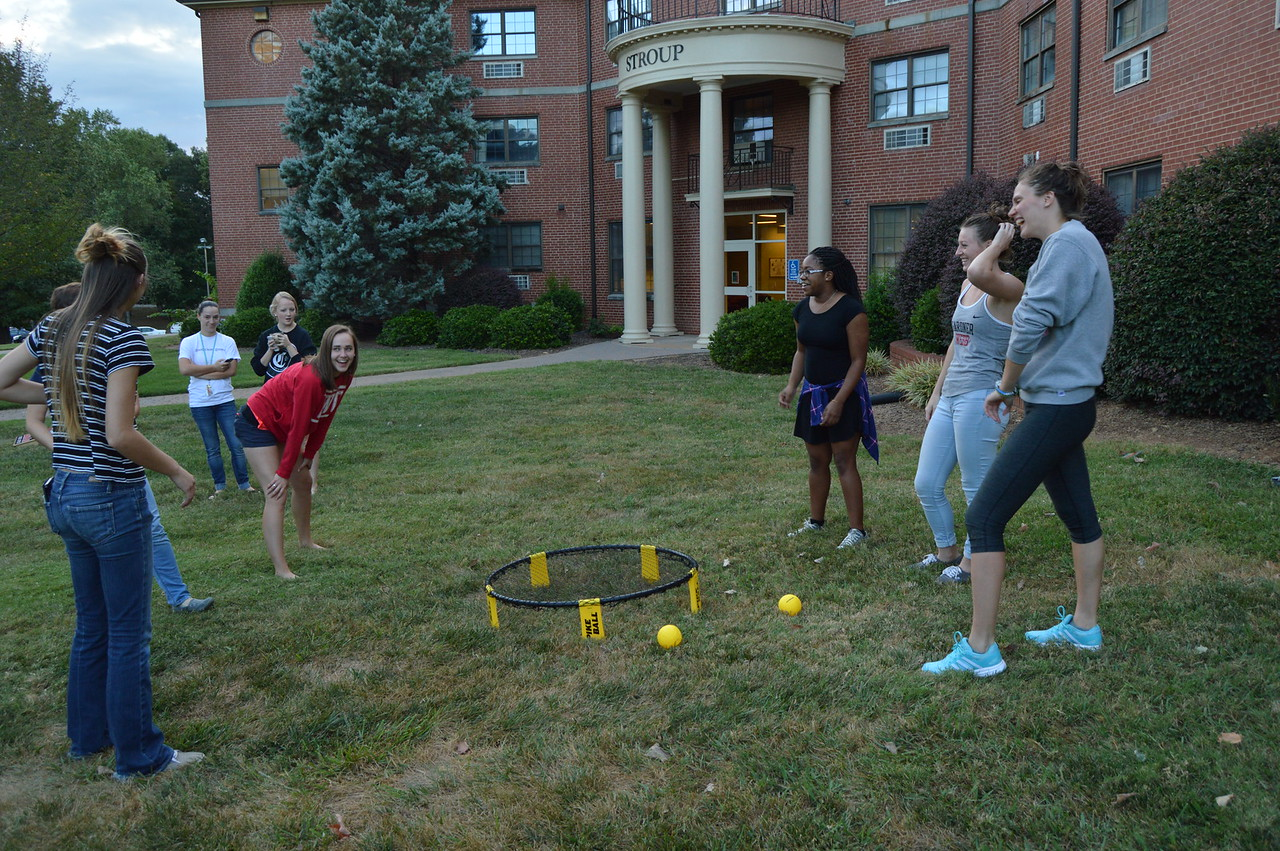 Figuring out how to play spike ball. September 22, 2016 gwu photo by: Hannah Anders