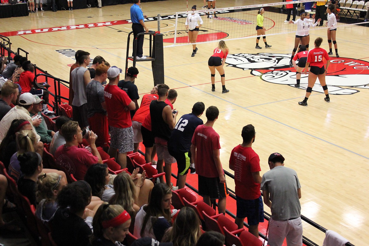 Bulldog Blockheads (official student section for Women's volleyball) cheer on the Dawgs