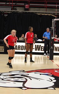 Setter Amanda Sahm (11) signals a play as Kaelyn Dison (2) prepares for the serve