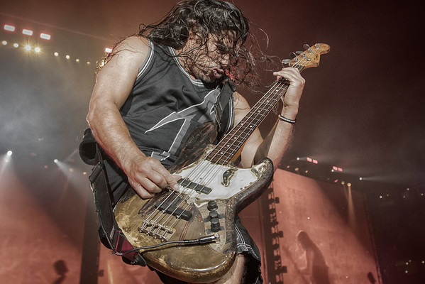 Robert Trujillo and his thundering bass guitar got the crown going as Metallica headlined the second concert in US Bank Stadium on August 20, 2016 in Minneapolis, Minn. [ Special to Star Tribune, photo by Matt Blewett, Matte B Photography, matt@mattebphoto.com, Metallica, Avenged Sevenfold, Volbeat