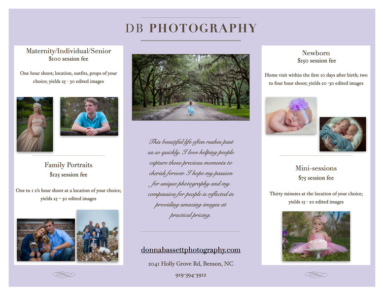 2016 Pricing Guide - db photography