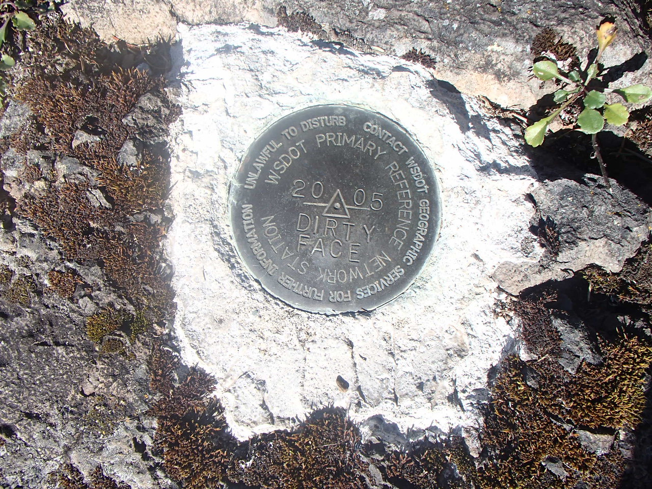 WADOT Reference Monument at Dirty Face Ridge W of Quilcene