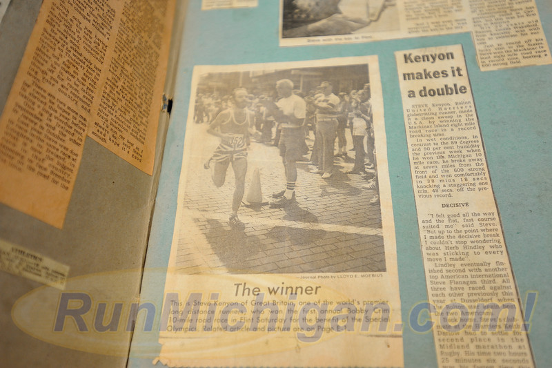 Press clippings shared by Steve Kenyon, winner of the first ever Crim 10 Mile Race. Kenyon was on hand at the August 24, pre-race press event leading up to the 2016 Crim Festival of Races on August 26 and 27. 2016 in Flint, Michigan. (Photo: RunMichigan.com)