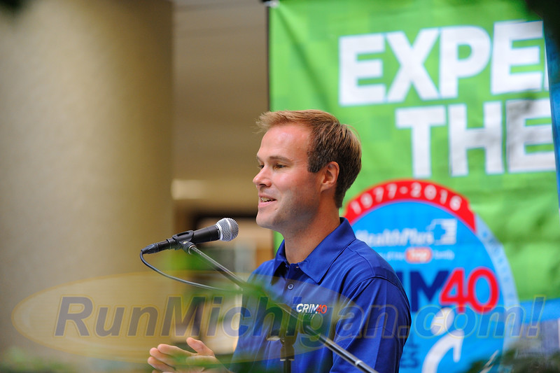 Crim Festival of Races Race Director Andrew Younger speaks at the race's pre-race press event, held in Flint Township on August 24, 2016. (Photo: RunMichigan.com)