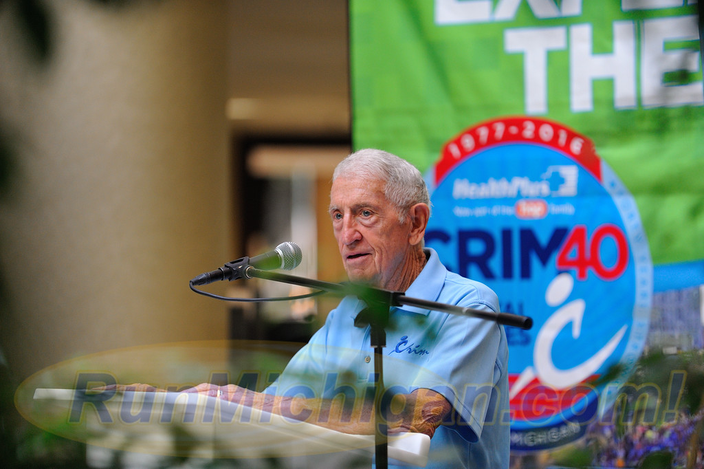 Crim Festival of Races Co-Race Founder Bobby Crim, speaks at the 2016 Crim Festival of Races pre-race press event, held in Flint Twp., Michigan on August 24, 2016. (Photo: RunMichigan.com)