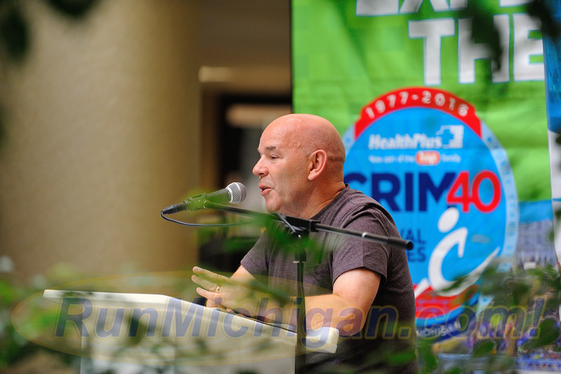Bolton, England's Steve Kenyon, overall winner of the first ever Crim 10 Mile Race in 1977, speaks at the 2016 Crim Festival of Races pre-race press event on August 24, 2016 in Flint Twp., Michigan. (Photos: RunMichigan.com)