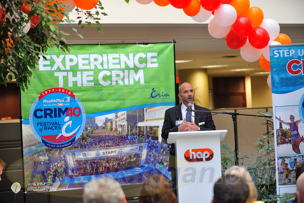 HAP C.O.O. Matthew Walsh speaks at the 2016 Crim Festival of Races Pre-Race Press Event in Flint Township on August 24, 2016.  HAP is the Presenting Sponsor for both the Crim Festival of Races and Rochester, Michigan's Brooksie Way Half Marathon.