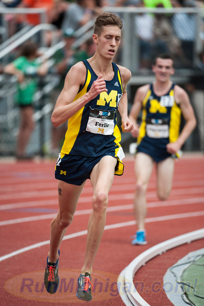 Mason Ferlic, showing his strength and versatility in the 5000 Meters at the 2015 Big Ten Outdoor Championships at MSU in May, 2015. (Photo by Ike Lea/RunMichigan.com)