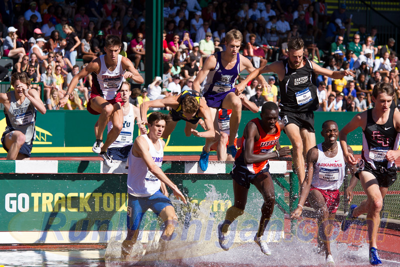 One year before capturing the 2016 NCAA D1 Outdoor T&F Steeplechase National Title, Mason Ferlic gained some fame for a different reason, taking a spectacular fall at the 2015 NCAA's. (Photo by Michael Lahner/RunMichigan.com)
