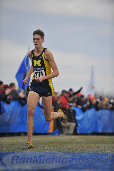 Mason Ferlic of the University of Michigan is shown here at the the 2014 NCAA Division One National XC Championships in Terre Haute, Indiana. (Photo by Dave McCauley/RunMichigan.com)