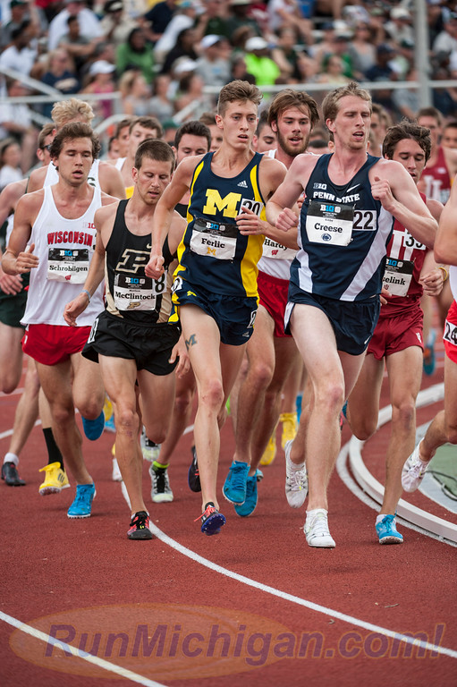 Mason Ferlic competes in the 5000 Meters at the 2015 Big Ten Outdoor T&F Championship Meet at Michigan State University in May, 2015. (Photo by Ike Lea/RunMichigan.com)