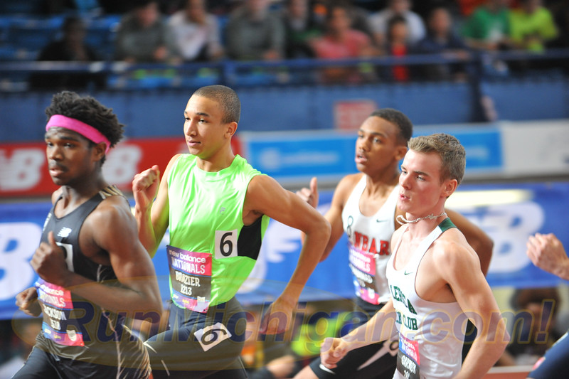 Donavan Brazier slowly started to burst onto the national scene in high school, shown here at the 2015 New Balance Indoor Nationals at the Armory Track in New York City in March, 2015. (Photo by Dave McCauley/RunMichigan.com)