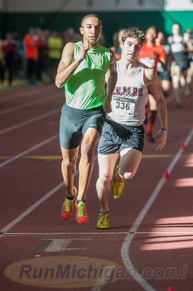Donavan Brazier pulls away on his way to the 2016 MITS Indoor State Meet 800 win at Eastern Michigan University in February, 2015. (Photo by Ike Lea/RunMichigan.com)