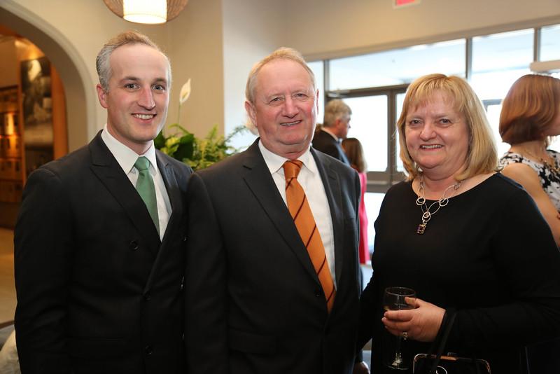 Phil Ouellette, BA'04, Bathurst Mayor Stephen Brunet and Joan Brunet