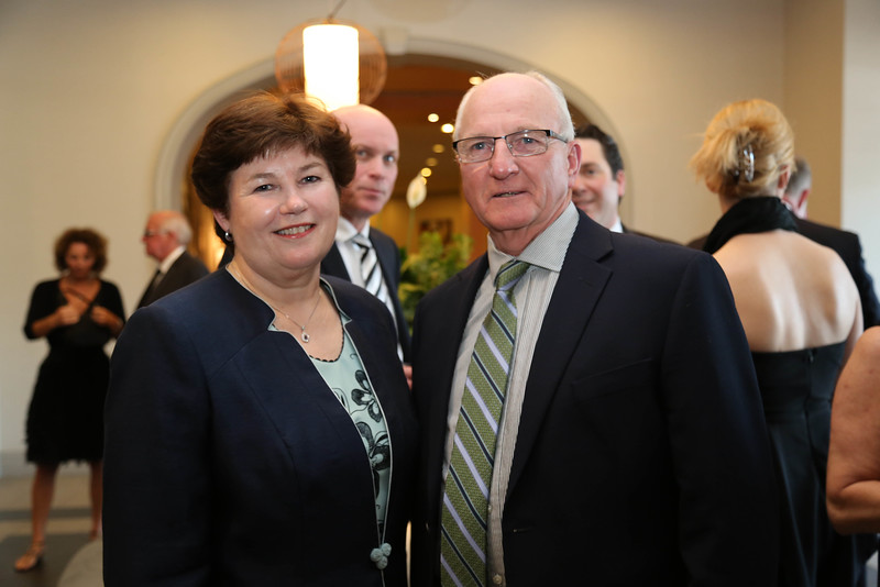 Dawn Russell, BA '77, President and Vice-Chancellor of St. Thomas with Harold DeCourcey, BA '69, CSW '79