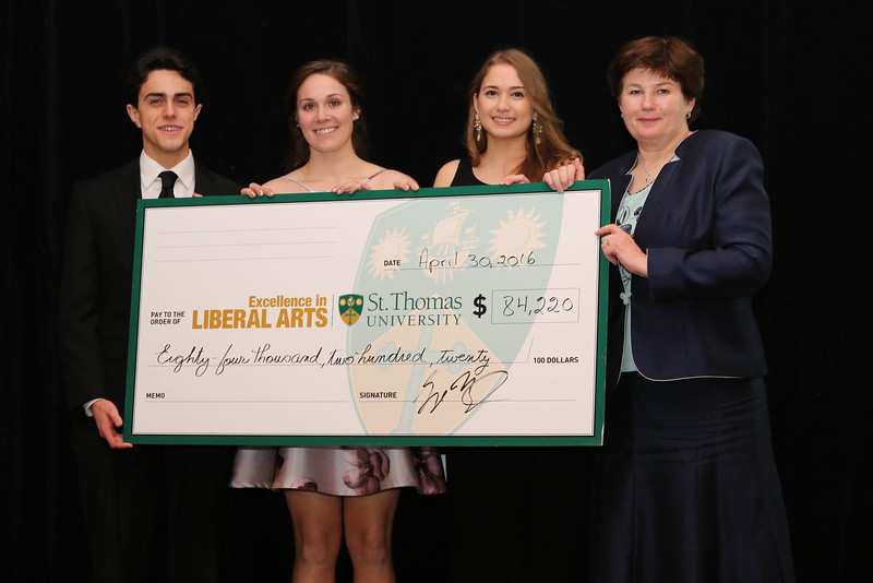 The Gala Dinner raised more than $84,000 for students in financial need!  Shown with President Dawn Russell are (l-r) Stefen Savoy, Meghan MacEachern and Adriana Rivas.  Thank you for your support.