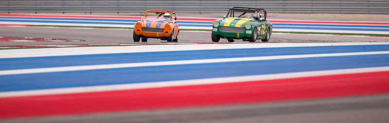 1972 MG Midget Driven by Williams and 1966 Austin Healy by Glawe
