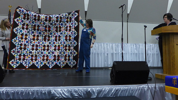 Kathy Kittle took the Bonnie Hunter Cathedral Stars last month.  She was proud that the quilt was made from her stash with no new purchases.  She also did the quilting.