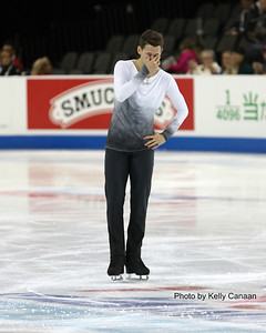 Maxim Kovtun reacts to a good free skate after a poor short program at 2016 Skate America.