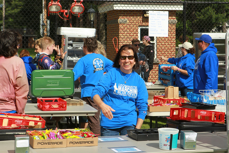 Betty Cirillo of the Leominster Blue Devils marching band family helps run the concession stand