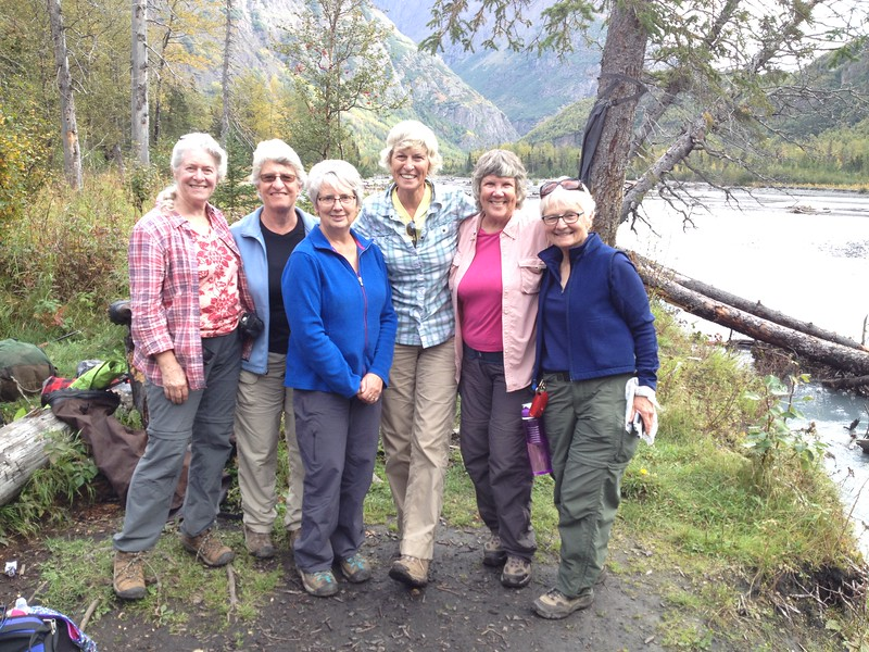 Sally, Kelley, Norma, Sylvia, Kari, Paula - the sensational six.  Our photo was taken by 3 goat hunters we met packing out their meat.