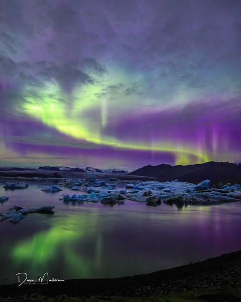 Aurora and Ice, Jökulsárlón, Iceland, September, 2016