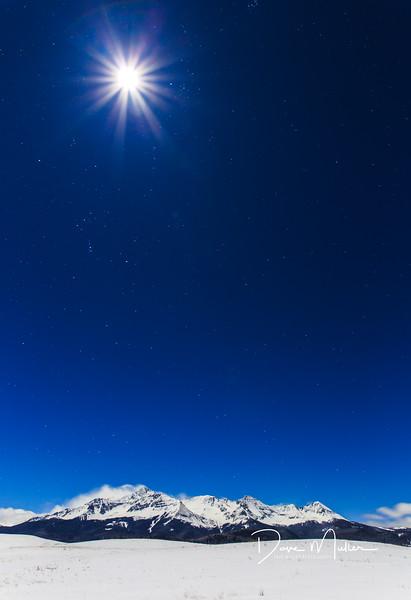 Mountaintop Splendor by the Light of the Silvery Moon, Telluride, Colorado, December 2016