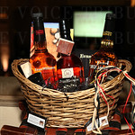 Silent auction items included this Big on Bourbon gift basket.