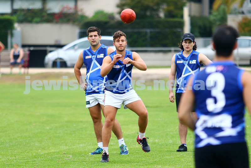 13-3-16. Members of the Unity Cup team during training at Caulfield Park wearing their new jumpers that were designed by Year 12 student  Jayden Beville. Photo: Peter Haskin
