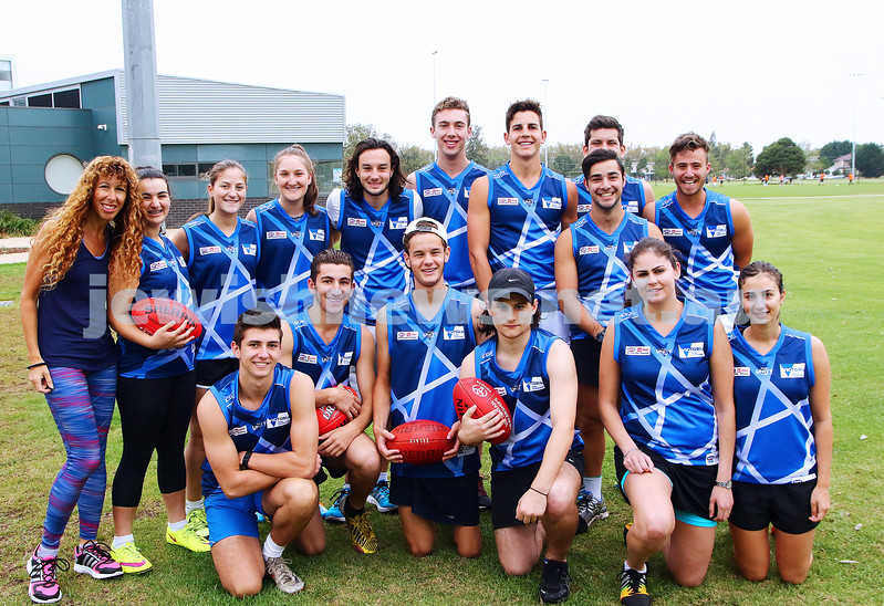 13-3-16. Members of both the male and female Unity Cup teams during training at Caulfield Park wearing their new jumpers that were designed by Year 12 student  Jayden Beville. Photo: Peter Haskin
