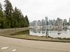 Stanley Park walk.  Bike lane and walk lane.  Vancouver skyline in background