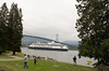 Cruise ship leaving Vancouver, going under Lions Gate Bridge