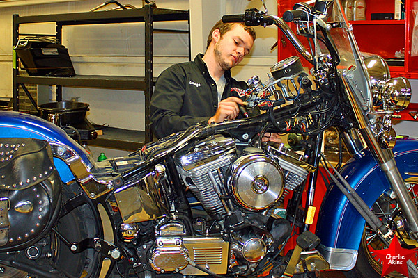 He is working on a Harley at Harley Davidson of Lynchburg