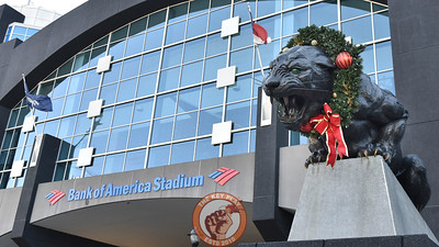 An exterior view of Bank of America Stadium in Charlotte, N.C. prior to the 2016 Belk Bowl. (Michael Shroyer/ TheKeyPlay.com)