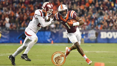 Virginia Tech wide receiver Isaiah Ford (1) fights for extra yardage down the sidelines. (Michael Shroyer/ TheKeyPlay.com)