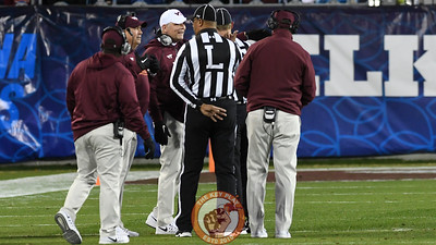 Virginia Tech head coach Justin Fuente seeks further clarification after the change in possession was overturned. (Michael Shroyer/ TheKeyPlay.com)