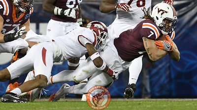 Virginia Tech tight end Bucky Hodges (7) is brought down after his reception. (Michael Shroyer/ TheKeyPlay.com)