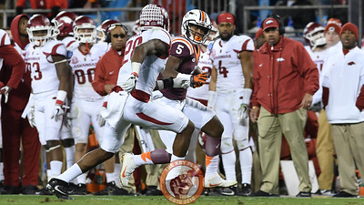 Virginia Tech wide receiver Cam Phillips (5) carries the ball down the sideline for a big gain. (Michael Shroyer/ TheKeyPlay.com)