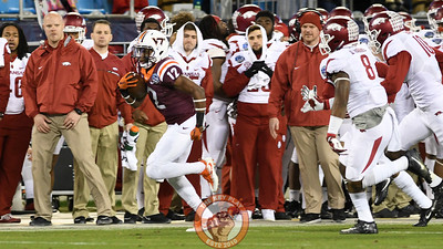 Virginia Tech wide receiver Henri Murphy (12) returns a kickoff for big yardage. (Michael Shroyer/ TheKeyPlay.com)