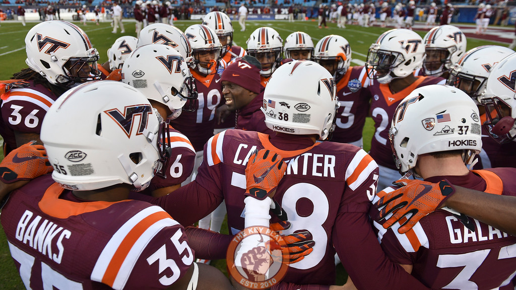 Virginia Tech safeties coach Galen Scott pumps up the defensive backs prior to the game. (Michael Shroyer/ TheKeyPlay.com)