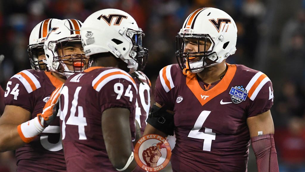 Virginia Tech defensive end Ken Ekanem (4), linebacker Andrew Motuapuaka (54), and defensive end Trevon Hill (94) react following a defensive stop. (Michael Shroyer/ TheKeyPlay.com)