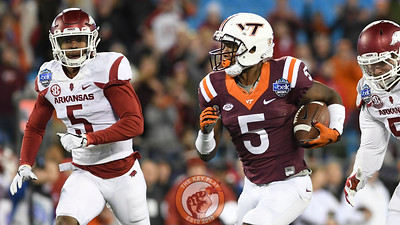 Virginia Tech wide receiver Cam Phillips (5) carries the ball following a long reception in the first half. (Michael Shroyer/ TheKeyPlay.com)