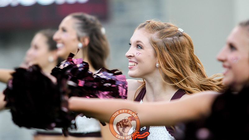 Members of the Virginia Tech High Techs perform for the crowd during a media timeout in the 4th quarter. (Mark Umansky/TheKeyPlay.com)